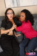 Stace Lane and Sin Sage in lesbian fuck with dildo