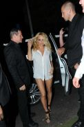 Pamela Anderson in see through shirt  shorts partying in Saint Tropez