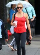 Cameron Diaz spotted in a skimpy red top and tights out in New York City