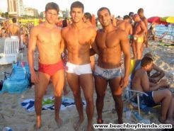 Topless hunk dudes pose their muscular body outdoor