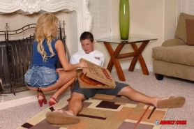 Busty blonde babe fucking silly the delivery guy