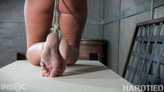 London River rope bound in different positions and ass spanked b
