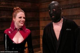 Latex Goddess Lidia McLane humiliates bound slave boy with CBT