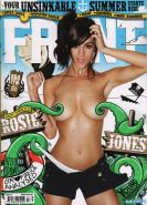 Busty Rosie Jones fully nude but hiding her pussy for the Front magazine August