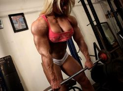 Blonde sexy muscle Lisa Cross massive ripped muscular