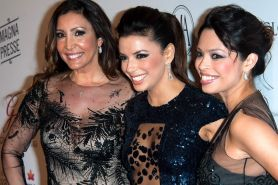 Eva Longoria looks hot wearing a partially see through dress at the 2013 Global