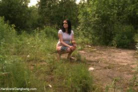 Beautiful Russian amateur lives out her fantasy of being taken down by 5 men and