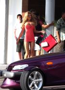 Bar Paly flashing her panties and boobs in very short strapless dress on set of