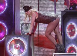 Britney Spears in fishnet stockings looking sexy on stage during perfomance papa