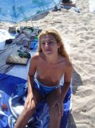 Amateur blonde wife going topless at the beach #67971434