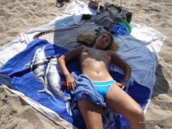 Amateur blonde wife going topless at the beach #67971450