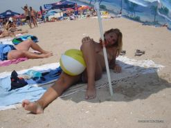 Amateur blonde wife going topless at the beach #67971457