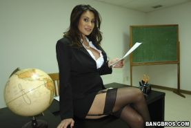 Big boobs mom in stockings hardcore sex at the classroom