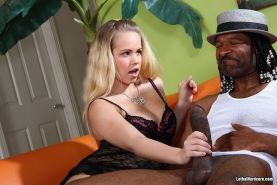Busty Britney Young rides black big cock and sucks