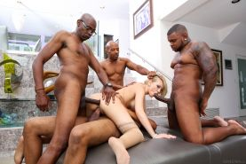 Interracial gangbang pictures with four black guys