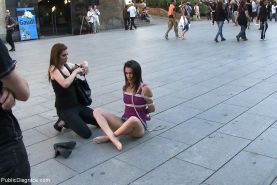 Spanish babe gets tied and anal fucked outdoor in public places
