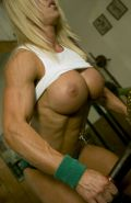 Blonde Female Bodybuilder with amazing hot muscle body