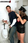 Horny cop Angelina Verdi fucked in dirty toilet