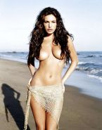 Kelly Brook posing topless on beach and showing her panties upskirt paparazzi pi