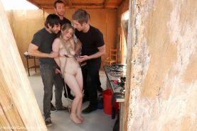 Hardcore outdoor BDSM gangbang  blonde girl gets tied up and fucked by group of  #68770564