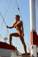 German Celeb Gina Lisa posing naked while out on a Boat
