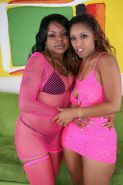 Two black ghetto ebony lesbian babes playing around with toys