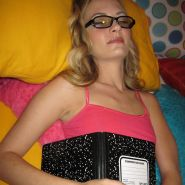 Cute nerdy girl wearing glasses fucked while asleep