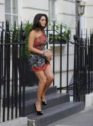 Kelly Brook leggy in an ultra short dress hosting the Liberation Day Campaign in