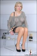 Nylons long legs mature babe n glasses spreading
