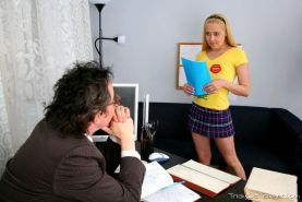 Shy blonde teen coed seduced and screwed by old tricky teacher