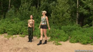 Military training of a nude busty chick