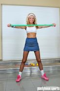 Blonde Miranda in pantyhose working out with body bar