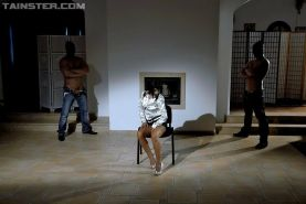 Slut gangbanged and pissed on by two men