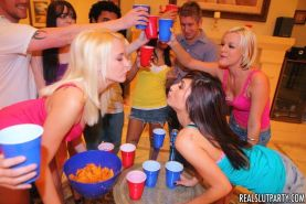 Drunk teen chicks at hardcore group sex party with cum swap