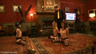 Group of slave girls in BDSM gangbang live party