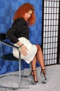 German redhead lady Claire in brown stockings