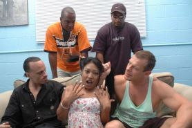 Asian babe hard gangbanged by a interracial group