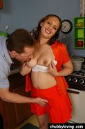 Spunky Chubby Babe Blasted in The Kitchen