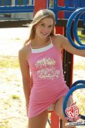 Cute blonde eighteen year old Private School Jewel on playground