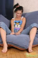 Pigtailed small titted teen strips is sexy tank top