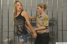 Blonde babe with nice round ass gets undressed in prison