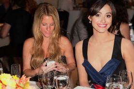 Emmy Rossum braless shows huge cleavage in a gorgeous floral dress at 2013 Perso