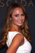 Stacy Keibler wearing tight white mini dress at the Escada Flagship store grand