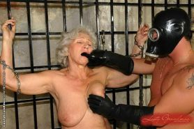 Kinky granny getting abused and sucking cock