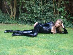 Kinky college girl Allis outdoor latex fetish and glamour babes