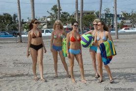 Milfs at play on the beach turns into the hottest muff diving ever