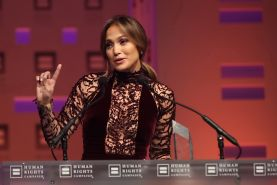 Jennifer Lopez braless wearing gorgeous black see-through dress at 2013 HRC Nati
