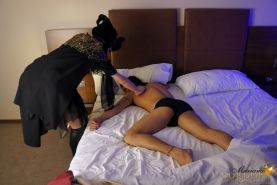 Halloween Witch Mariana Cordoba gives an unsuspecting guy a touch of her tranny