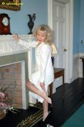 Housewife nylon Sue in her white lingerie