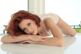 Gorgeous Redhead Elle Alexandra Pleasures Her Twat With Glass Toy